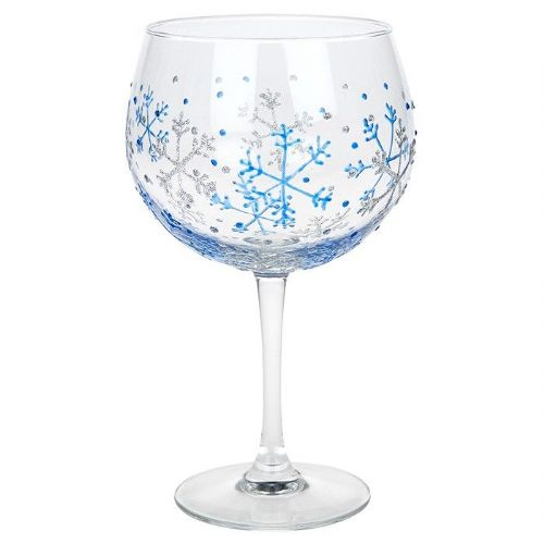 Sunny by Sue Christmas Blue Snowflake Gin Glass